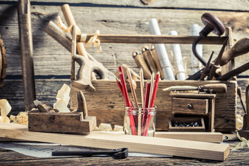 Drawing workshop and old carpentry workbench