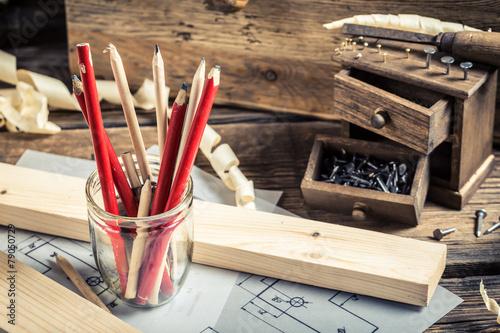 Old tools in carpentry workshop - 79050729
