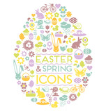 Fototapety easter and spring icons easter egg