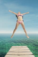 Happy woman enjoy freedom at pier