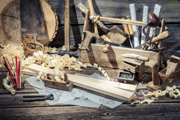 Old carpentry workshop with tools