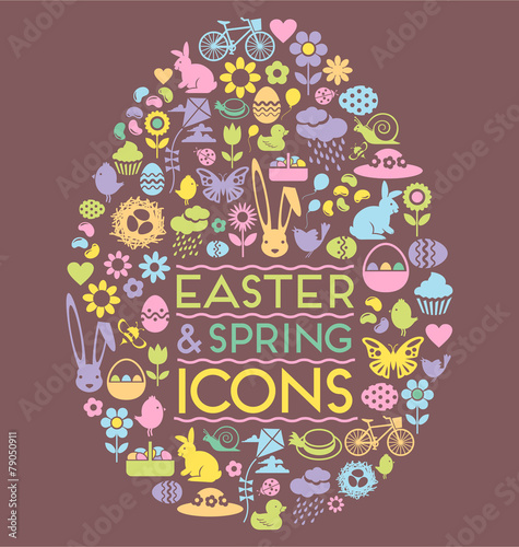 easter and spring icons easter egg - 79050911