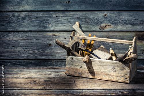 Leinwandbild Motiv Vintage carpenters tool box