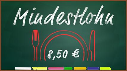bkt109 BunteKreideTafel - Mindestlohn 8 Euro 50 cent 16zu9 g3324