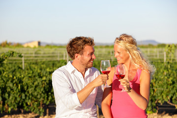 Red wine drinking couple toasting at vineyard