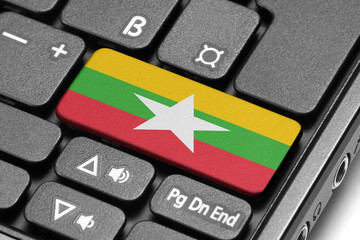 Go to Burma! Computer keyboard with flag key.