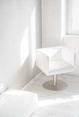 Whte chair in the living room