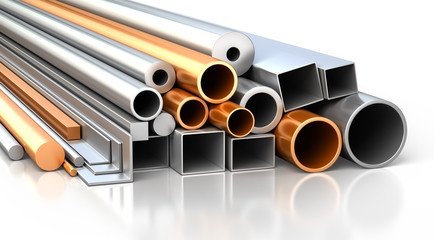 Set of metallic construction materials.