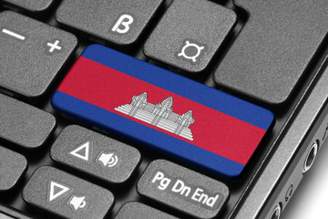 Go to Cambodia! Computer keyboard with flag key.