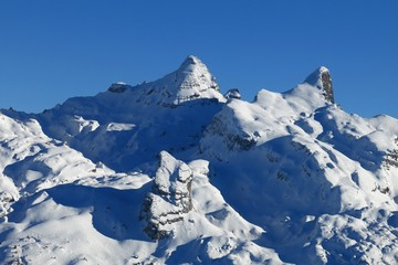 Snow covered mountains in Central Switzerland, view from Stoos