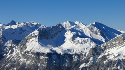 High mountains in Central Switzerland, view from Fronalpstock