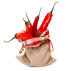 Chili peppers in sack