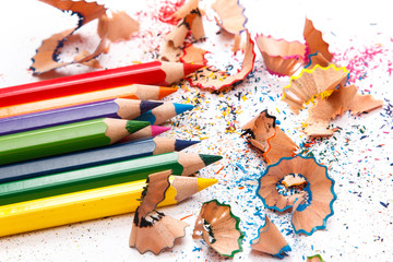Multicolored pencils and shavings