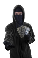 Robber forcing to take money cash