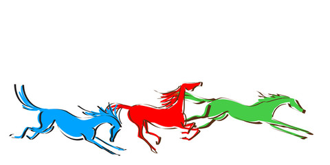 Galloping horses on white background. Line drawing. Vector