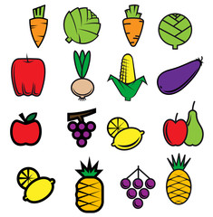 Sketch colorful fresh vegetables and fruits