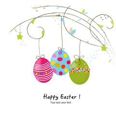 Happy easter hanging eggs greeting card vector