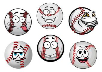 Smiling baseball balls cartoon characters
