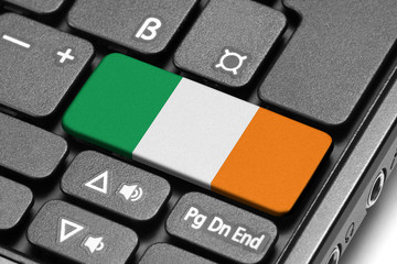 Go to Ireland! Computer keyboard with flag key.