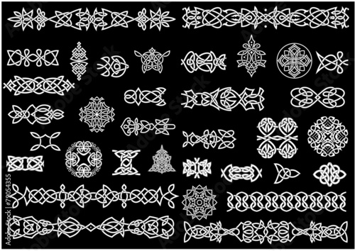 Celtic knot patterns, ornaments and borders - 79054355
