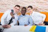 Business team take selfie photos