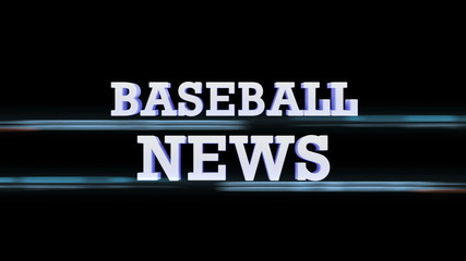 BASEBALL NEWS Text Transition, with Alpha Channel, Loop