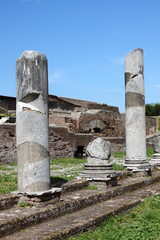 Columns of an ancient roman temple in Ostia Antica. Rome, Italy