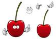 Fresh sweet cherry fruit cartoon character