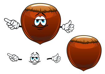 Smiling hazelnut fruit cartoon character