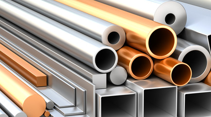 Set of metallic construction materials.