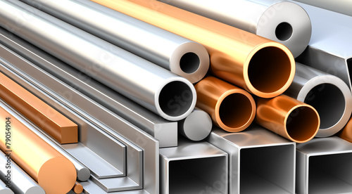 Zestaw metalowych materiałów budowlanych.