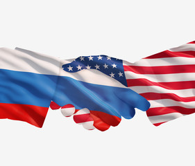 Russian and USA handshake