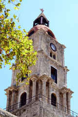 Old clock tower in Rhodes City Greece