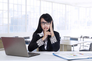 Worker with silent sign in office