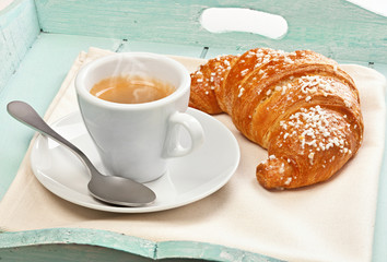Espresso coffee with croissant
