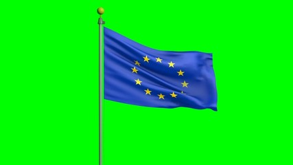 European Union flag waving in the wind on a green screen