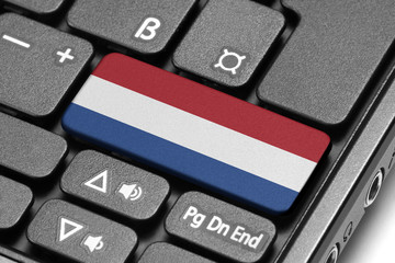 Go to Netherlands! Computer keyboard with flag key.