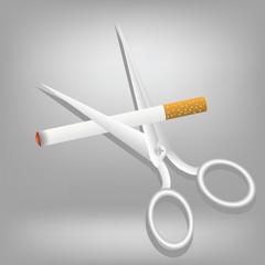 cigarette and scissors