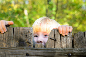 Happy Little Girl Peeking on Wooden Fence