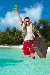 Man in a tropical island