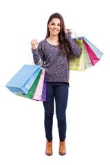 Latin girl on shopping spree