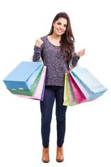 Happy girl buying stuff