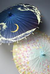 花模様と波と月の傘