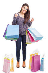 Woman doing a lot of shopping