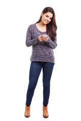 Pretty Latin girl texting