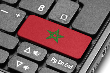 Go to Morocco! Computer keyboard with flag key.