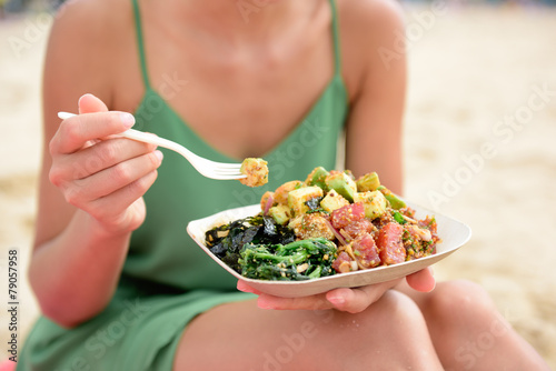 Poke bowl salad plate - a local Hawaii food dish - 79057958