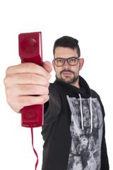 Guy showing telephone
