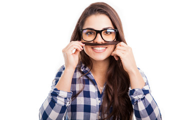 Hipster girl with a mustache