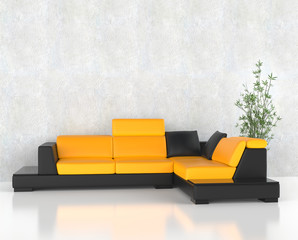 Yellow corner frniture set in the living room